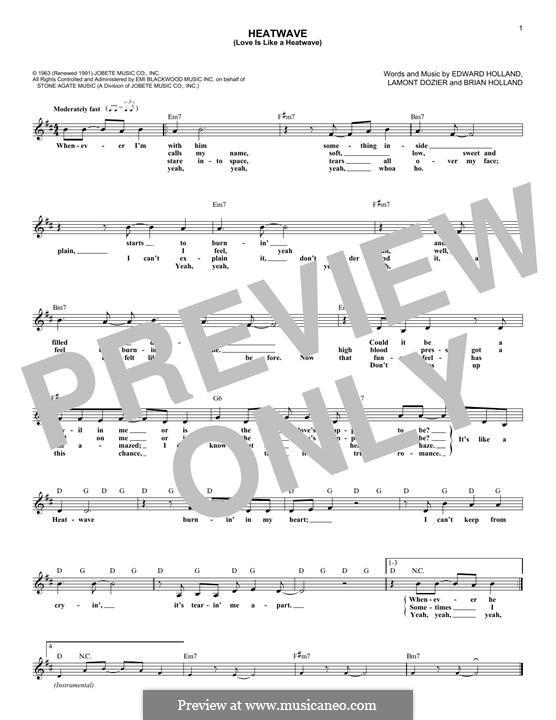 Heatwave (Love Is Like a Heatwave): Melodische Linie by Brian Holland, Edward Holland Jr., Lamont Dozier