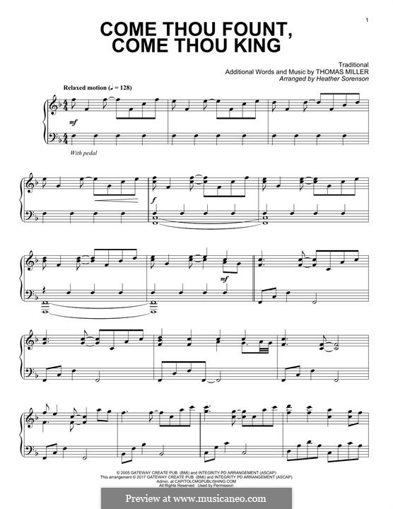 Come Thou Fount, Come Thou King: Für Klavier by folklore