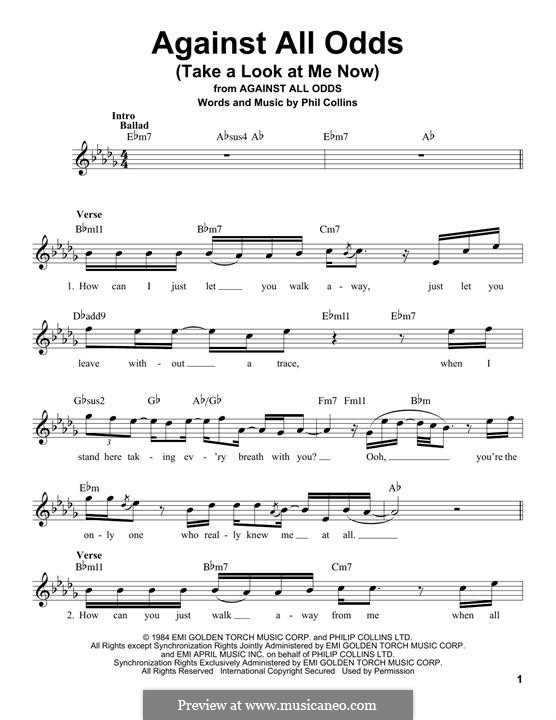 Against All Odds (Take a Look at Me Now): Melodische Linie by Phil Collins