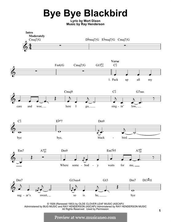 Bye Bye Blackbird: Melodische Linie by Ray Henderson
