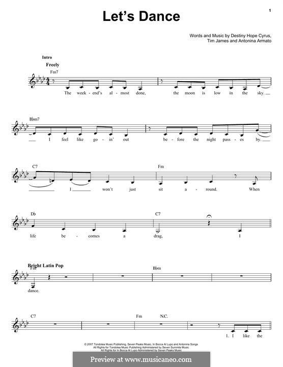 Let's Dance (Hannah Montana): Melodische Linie by Antonina Armato, Destiny Hope Cyrus, Timothy James