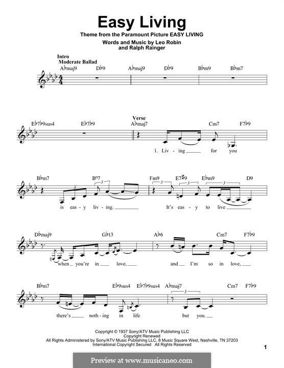 Easy Living (Billie Holiday): Melodische Linie by Leo Robin, Ralph Rainger