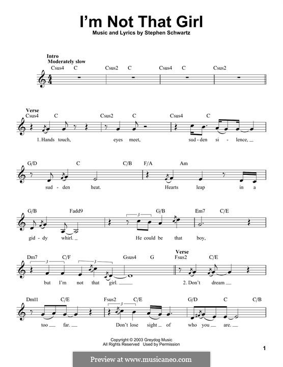 I'm Not That Girl (from Wicked): Melodische Linie by Stephen Schwartz