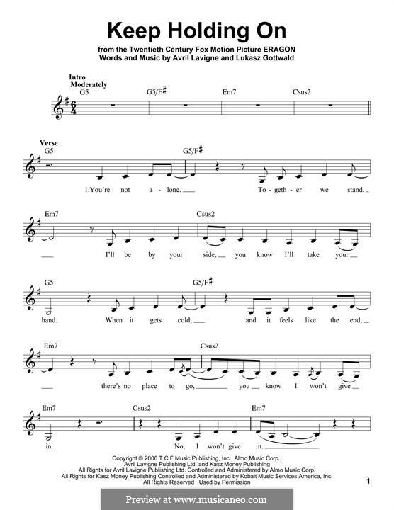 Keep Holding On: Melodische Linie by Avril Lavigne, Lukas Gottwald