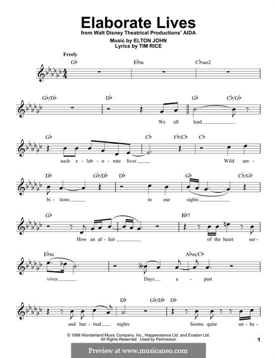 Elaborate Lives: Melodische Linie by Elton John