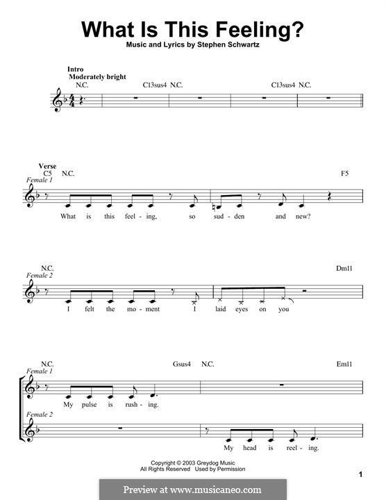 What Is This Feeling?: Melodische Linie by Stephen Schwartz