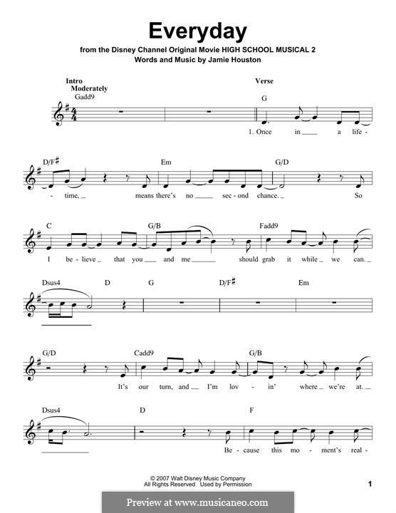 Everyday (High School Musical 2): Melodische Linie by Jamie Houston