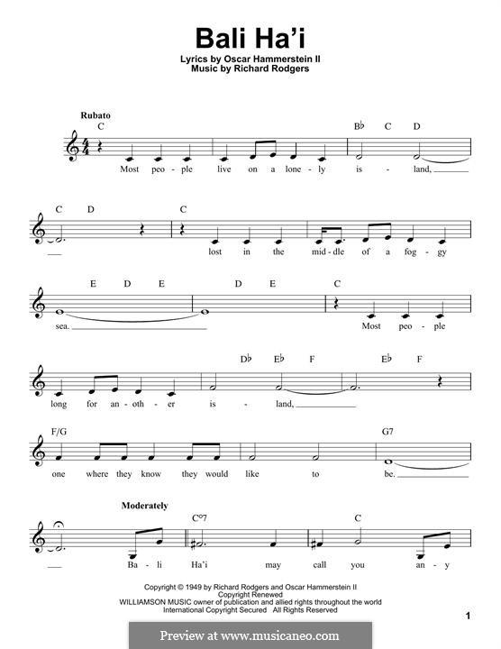 Bali Ha'i: Melodische Linie by Richard Rodgers