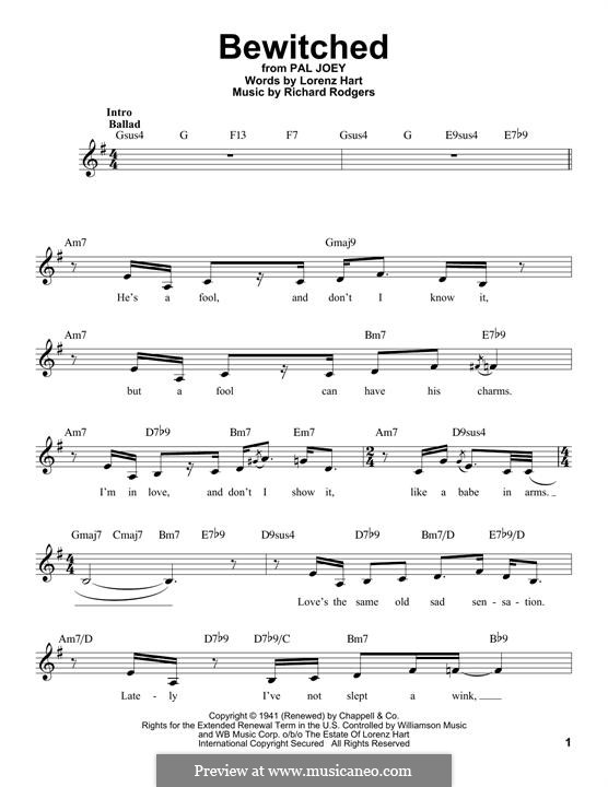 Bewitched (The Betty Smith Group): Melodische Linie by Richard Rodgers