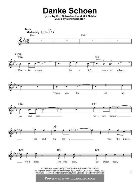 Danke Schoen (Wayne Newton): Melodische Linie by Bert Kaempfert, Kurt Schwabach, Milt Gabler