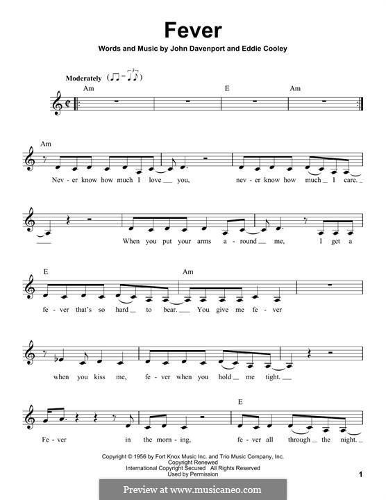 Fever: Melodische Linie by Eddie Cooley, John Davenport