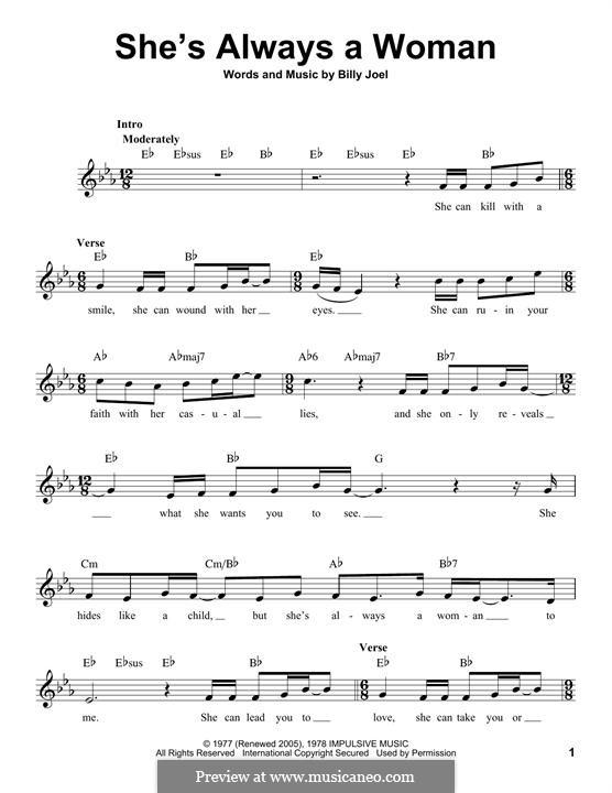 She's Always a Woman: Melodische Linie by Billy Joel