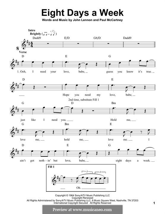Eight Days a Week (The Beatles): Melodische Linie by John Lennon, Paul McCartney