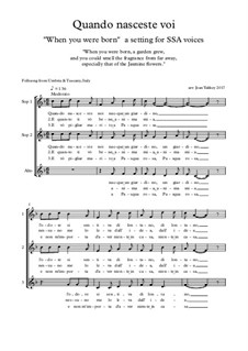 Quando nasceste voi (Italian Folksong) for 3 voices: Quando nasceste voi (Italian Folksong) for 3 voices by folklore