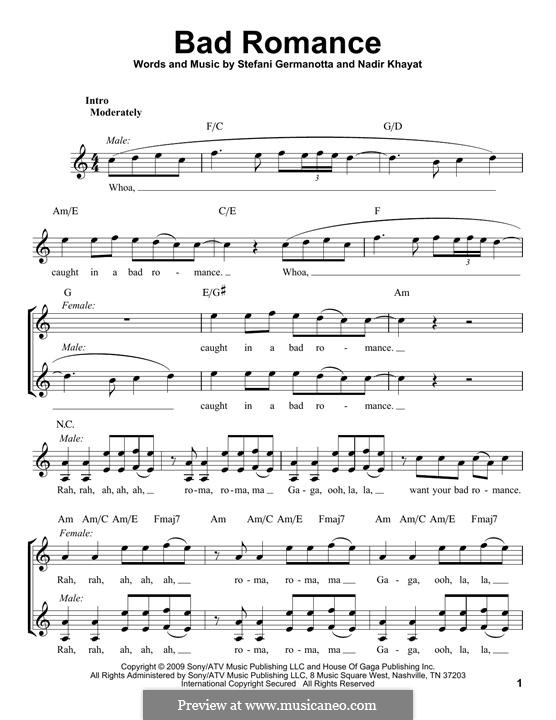 Bad Romance (Lady Gaga): Melodische Linie by RedOne, Stefani Germanotta