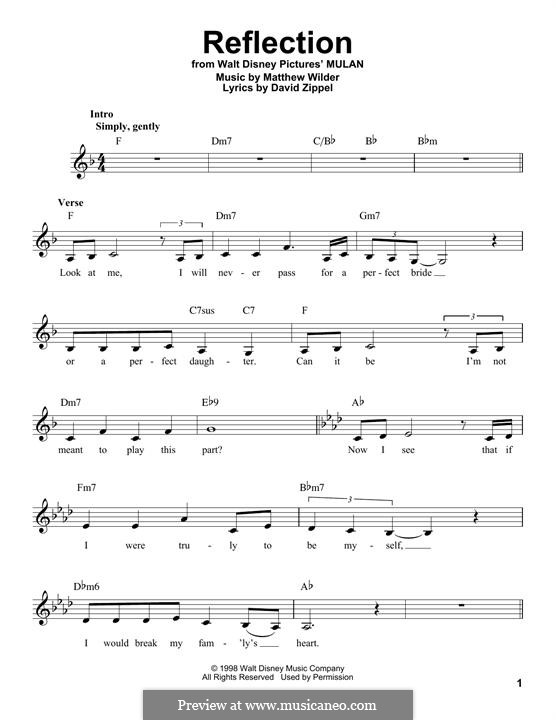 Reflection (from Disney's Mulan): Melodische Linie by Matthew Wilder