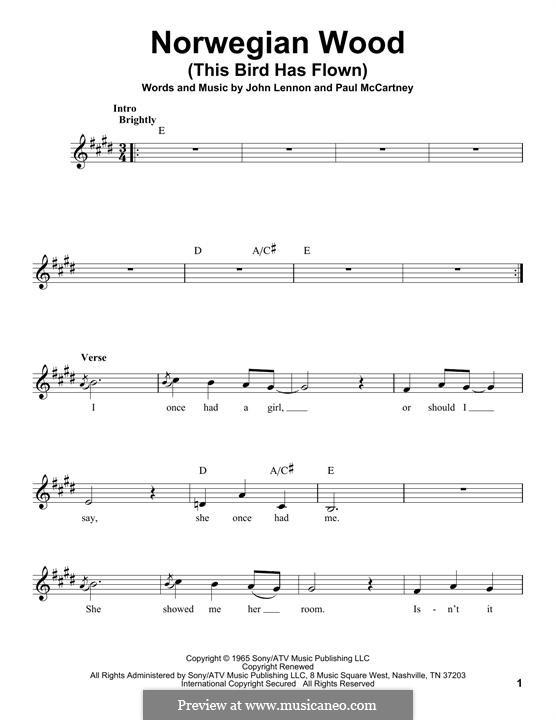 Norwegian Wood (This Bird Has Flown): Melodische Linie by John Lennon, Paul McCartney