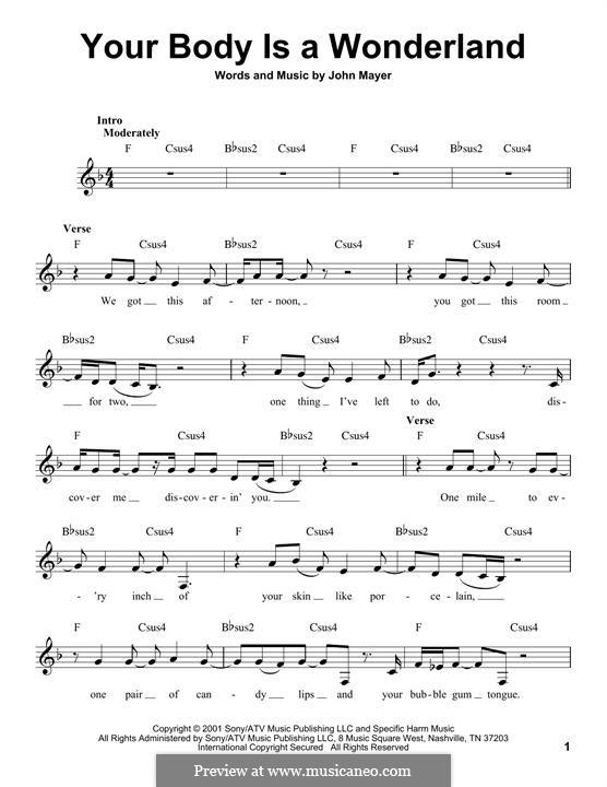 Your Body Is a Wonderland: Melodische Linie by John Mayer