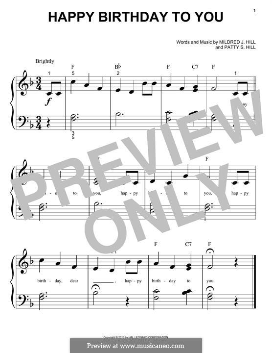 Zum Geburtstag viel Glück: Für Klavier by Mildred Hill