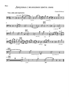 Nr.8 Das Mädchen mit dem flachsfarbenen Haar: For strings and piano – double bass part by Claude Debussy