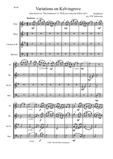 Variations on Kelvingrove (also known as 'The Summons' or 'Will you come and follow me'): For wind quartet by folklore