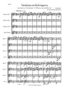 Variations on Kelvingrove (also known as 'The Summons' or 'Will you come and follow me'): For clarinet quartet (3 B flats and 1 bass) by folklore