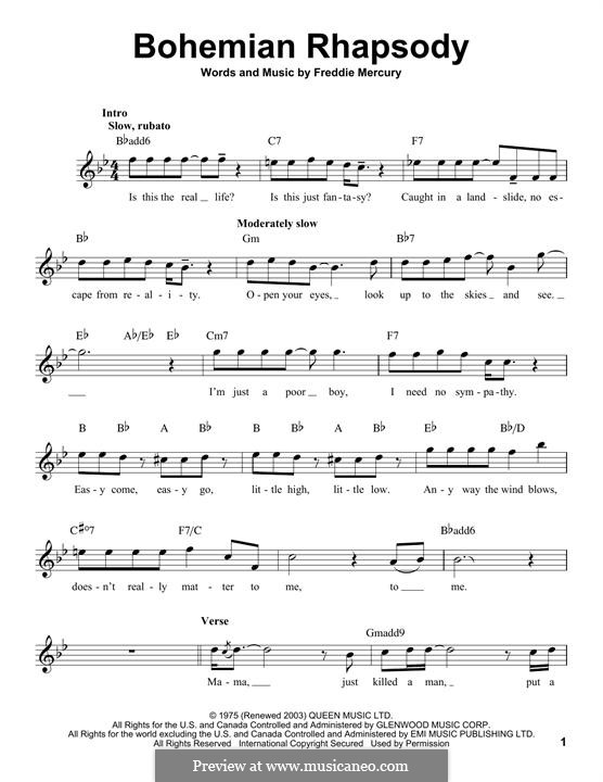 Bohemian Rhapsody (Queen): Melodische Linie by Freddie Mercury