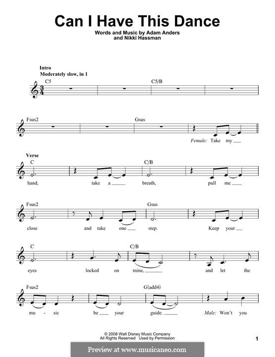 Can I Have This Dance (High School Musical 3): Melodische Linie by Adam Anders, Nikki Hassman