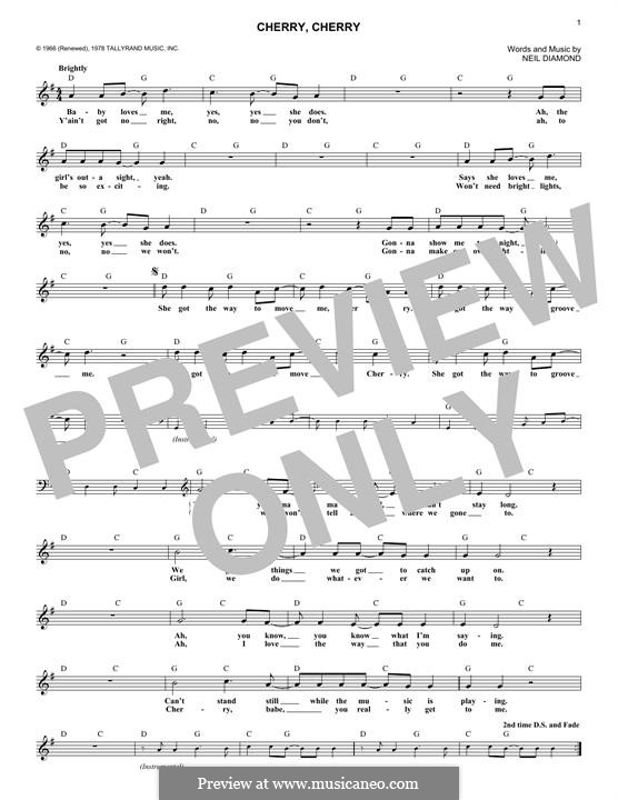 Cherry, Cherry: Melodische Linie by Neil Diamond