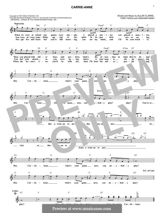 Carrie-Anne (The Hollies): Melodische Linie by Allan Clarke, Graham Nash, Tony Hicks