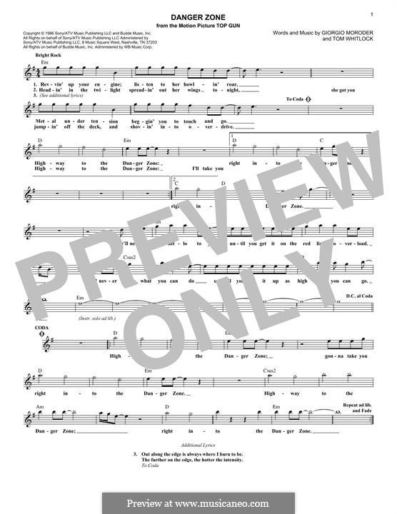 Danger Zone (from Top Gun): Melodische Linie by Giorgio Moroder, Tom Whitlock