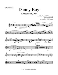 Danny Boy (Londonderry Air): Fpr clarinet choir – B flat clarinet 2 part by folklore