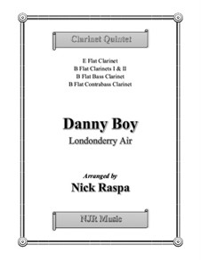 Danny Boy (Londonderry Air): For clarinet choir (Eb, Bb(2), Bass & Contrabass) – score, parts by folklore