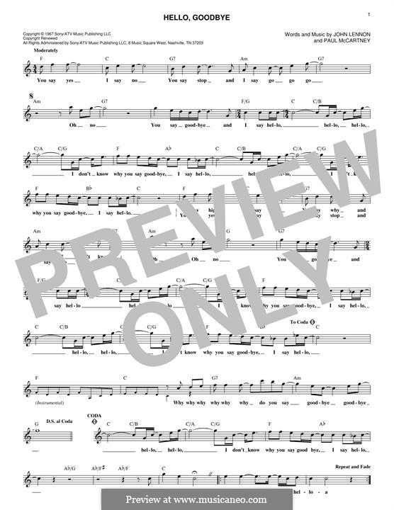 Hello, Goodbye (The Beatles): Melodische Linie by John Lennon, Paul McCartney