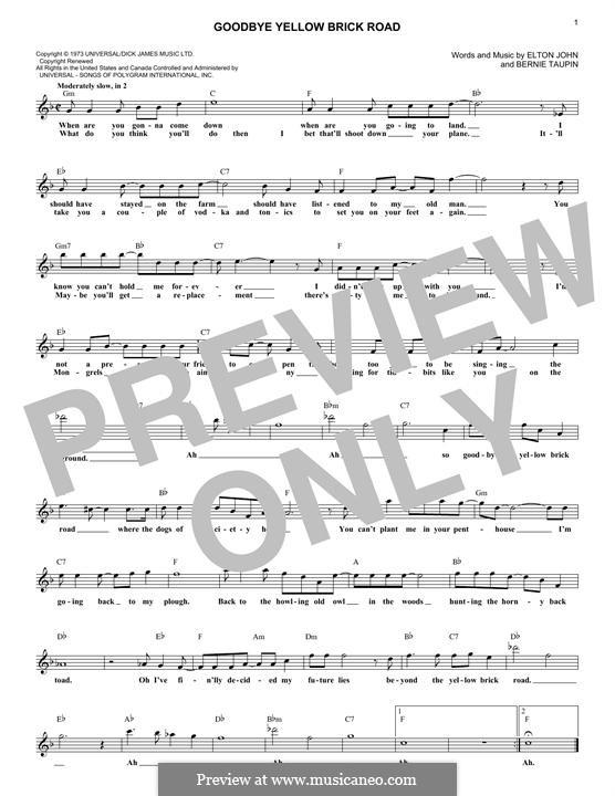 Goodbye Yellow Brick Road: Melodische Linie by Elton John