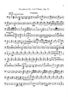 Sinfonie Nr.5 in F-Dur, B.54 Op.76: Schlagzeugstimme by Antonín Dvořák