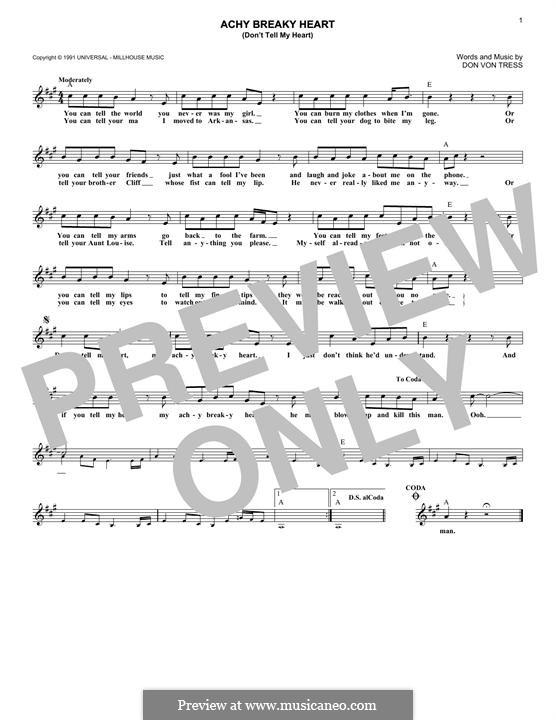 Achy Breaky Heart (Don't Tell My Heart): Melodische Linie by Donald Von Tress