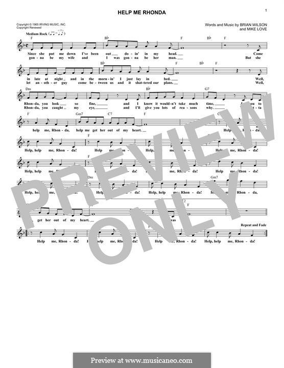 Help Me Rhonda (The Beach Boys): Melodische Linie by Brian Wilson, Mike Love