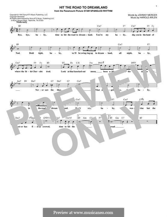 Hit the Road to Dreamland: Melodische Linie by Harold Arlen