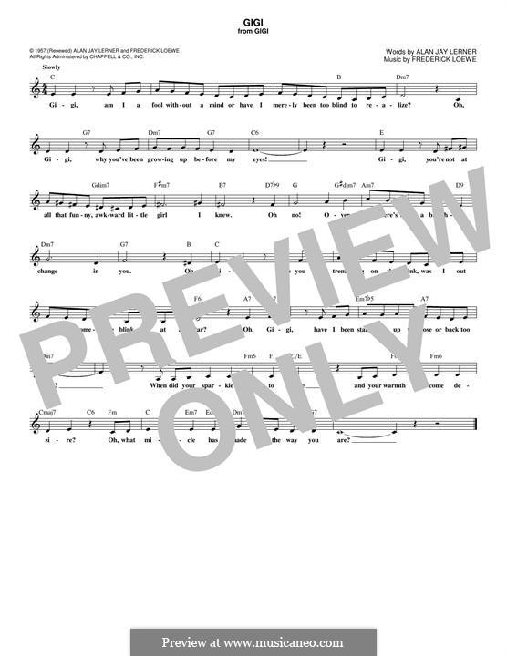 Gigi: Melodische Linie by Frederick Loewe