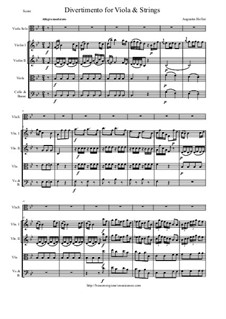 Divertimento for Viola and Strings: Score and all parts by Augustin Holler