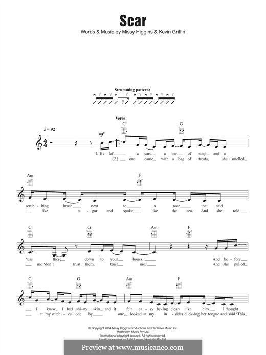 Scar (Missy Higgins): Für Ukulele by Kevin Griffin, Melissa Higgins
