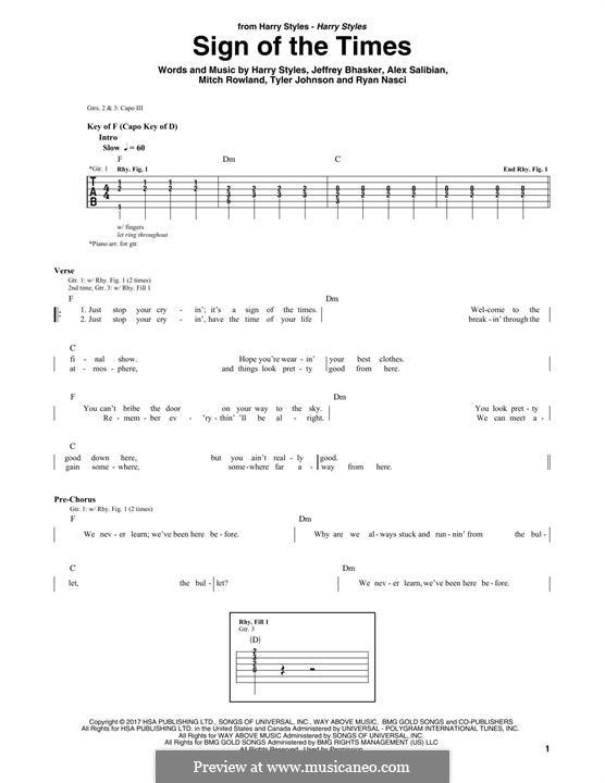 Sign of the Times: Für Gitarre mit Tabulatur by Jeff Bhasker, Harry Styles, Tyler Sam Johnson, Alex Salibian, Mitch Rowland, Ryan Nasci