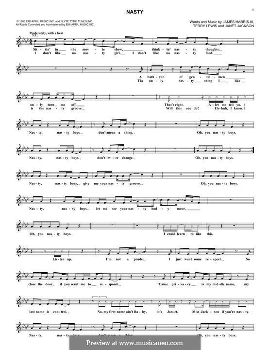 Nasty (Janet Jackson): Melodische Linie by James Samuel Harris III, Terry Lewis