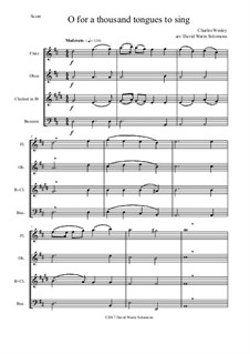 7 Songs of Glory for wind quartet: O for a thousand tongues to sing by Robert Lowry, William Howard Doane, Charles Wesley, William Batchelder Bradbury, Charles Hutchinson Gabriel, Edwin Othello Excell, D. B. Towner