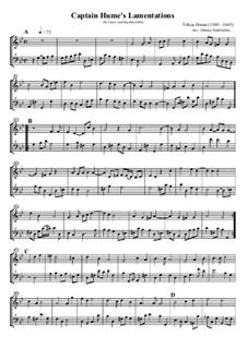 Captain Hume's Lamentations: Für Tenorblockflöte und Bassblockflöte by Tobias Hume