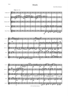 Details: For clarinet quintet (1 E flat, 2 B flats, 1 Alto, 1 Bass) by David W Solomons