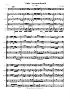 Concerto for Violin and Strings in D Minor, RV 241: Score and parts by Antonio Vivaldi
