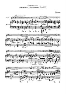 Sonate für Violine und Klavier Nr.2 in A-Dur, Op.100: Partitur, Solostimme by Johannes Brahms