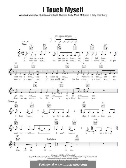 I Touch Myself (The Divinyls): Melodische Linie by Billy Steinberg, Christine Amphlett, Mark McEntee, Tom Kelly